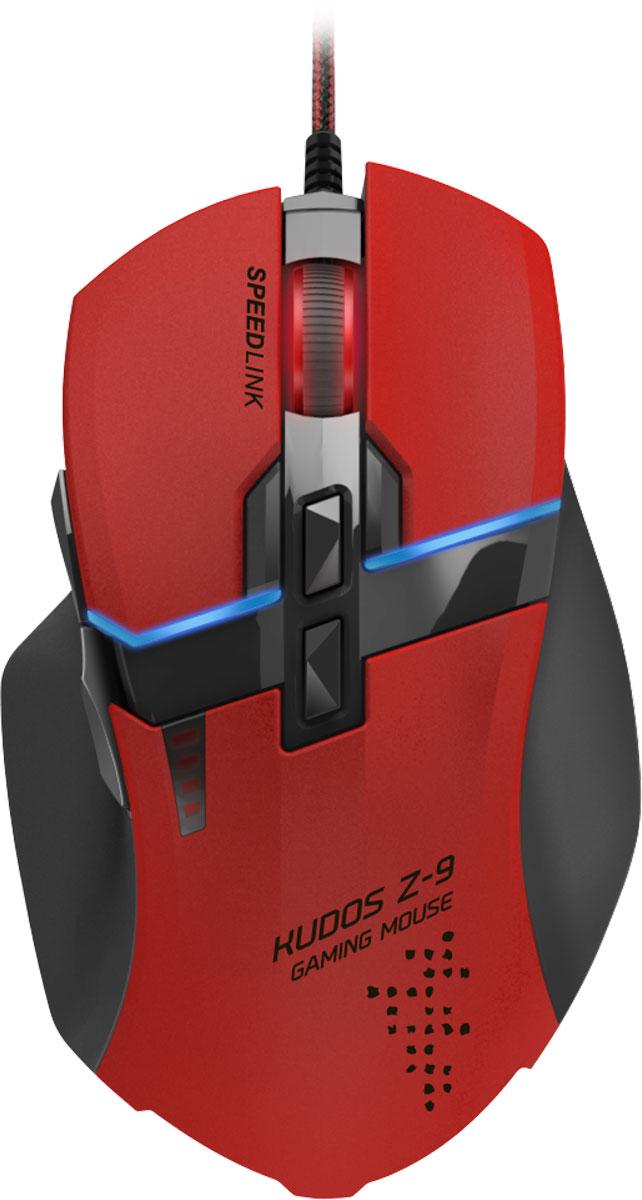 Speedlink Kudos Z-9, Red мышь игроваяSL-6391-RD-01Скорость – это главное: игровая мышь Speedlink Kudos Z-9 реагирует на команды абсолютно без задержки и дает существенное преимущество над противниками в игре. Speedlink Kudos Z-9 можно легко настраивать под свой игровой стиль с помощью простой, но продвинутой функции программирования. Среди других особенностей - простой и понятный интерфейс, который используется для переключения профилей, подключения необходимых функций на определенные кнопки и настройки разрешения сенсора. Все это повышает шансы на победу. А специальное приложение позволит настраивать мышь не только с компьютера, но даже со смартфона или планшета, созданных на базе ОС Android или iOs - без необходимости отрываться от игровых баталий. 9 программируемых кнопок: Высокочувствительные кнопки мгновенно переносят ваши команды у игру, две дополнительные боковые кнопки можно задействовать как для выделенных игровых команд, так и для голосового чата. Лазерный сенсор с разрешением...