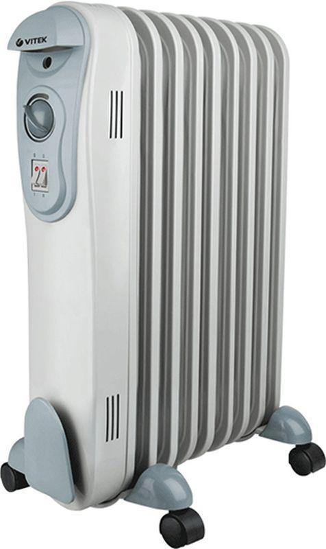 Vitek VT-2124 GY радиаторVT-2124(GY)Масляный радиатор Vitek VT-2124 GY имеет классический тип секций и элегантный дизайн. Колесики предназначены для удобного перемещения обогревателя. Радиатор оборудован устройством для намотки сетевого шнура и имеет три ступени мощности нагрева, встроенный регулируемый термостат. Vitek VT-2124 GY снабжен механизмом защиты от перегрева и замерзания.