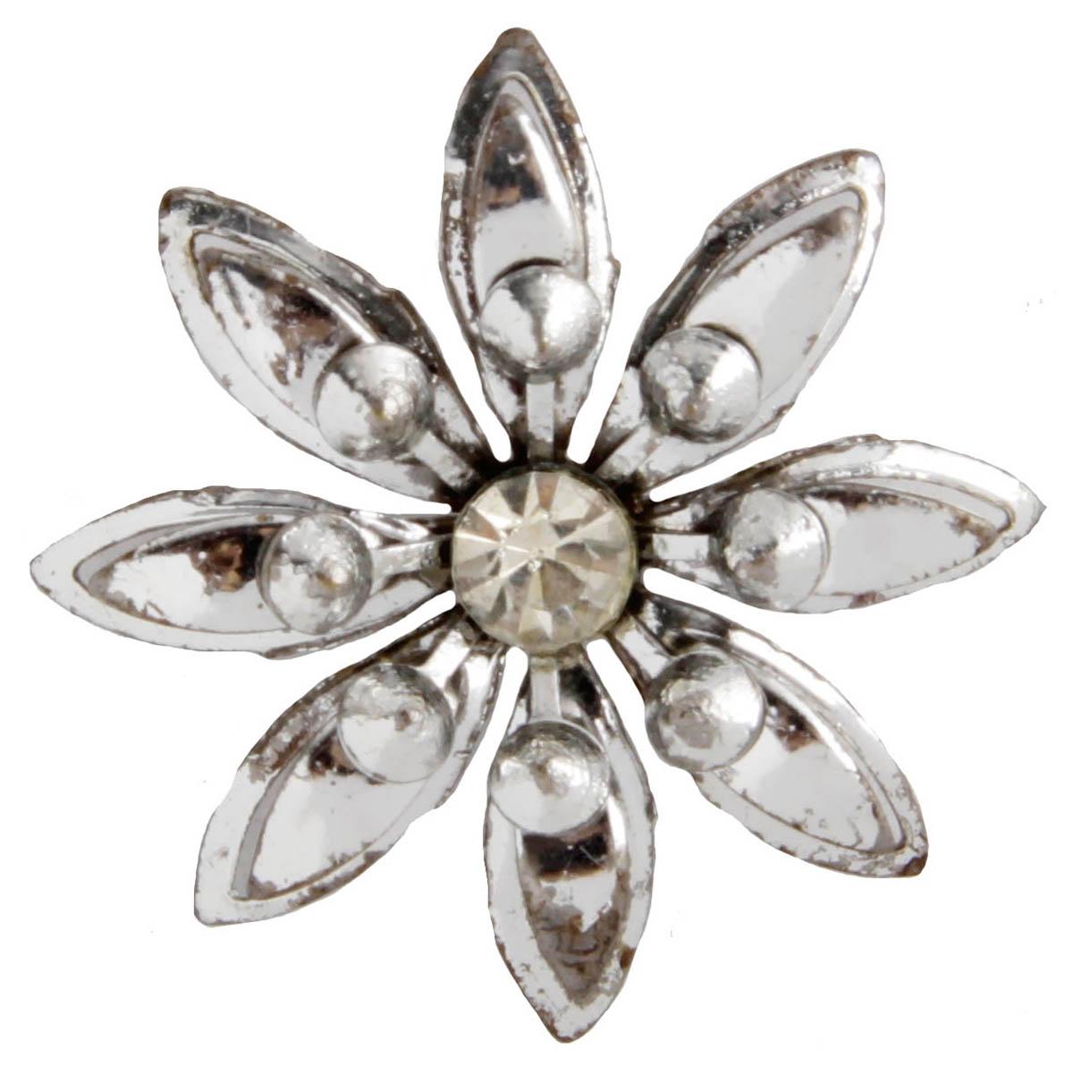 Брошь Цветок. Бижутерный сплав, австрийские кристаллы. Франция, конец XX векаОС28500Брошь Цветок. Бижутерный сплав, австрийские кристаллы. Франция, конец ХХ века. Размер 3 х 3 см. Сохранность хорошая. Предмет не был в использовании. Филигранная винтажная брошь выполнена из бижутерного сплава серебристого тона. Очаровательная, притягивающая взгляды брошь. Снабжена удобной и надежной застежкой. Брошь - отличное дополнение вашего наряда.