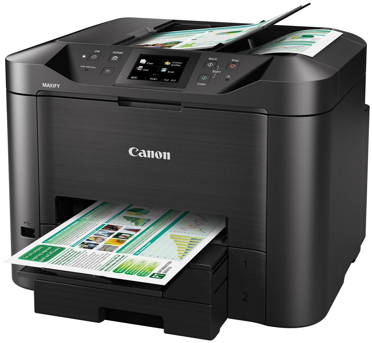 Canon Maxify MB5440 (0971C007) МФУ0971C007Canon Maxify MB5440 — идеальный выбор для эффективной печати в условиях небольших офисных пространств без ущерба для производительности, качества и надежности. Высококачественные устойчивые к маркерам чернила, возможности подключения по Wi-Fi и Ethernet и функция двустороннего сканирования за один проход позволяют выполнять печать больших объемов с более высокой скоростью, чем раньше. Технология Quick First Print значительно увеличивает скорость выхода первой страницы (FPOT) — примерно 6 секунд в монохромном режиме. Вы также можете быстро выполнять сканирование обеих сторон документа с помощью устройства двусторонней автоматической подачи документов за один проход (АПД). Чернила DRHD разработаны специально для бизнес-печати. Эти высококачественные чернила обеспечивают яркие цвета, насыщенные оттенки черного и четкий текст, а также препятствуют появлению пятен. Большой цветной сенсорный экран с диагональю 8,8 см обеспечивает удобный доступ...