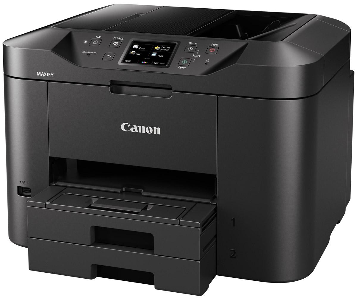 Canon Maxify MB2740 (0958C007) МФУ0958C007Многофункциональный принтер, сканер, копир и факс, разработанный для домашних офисов. Устройство Canon Maxify MB2740, оснащенное кассетой для бумаги большой емкости (на 500 листов) и устройством автоматической подачи документов на 50 листов, обеспечивает исключительные результаты печати с насыщенными оттенками черного, яркой цветопередачей и высокой четкостью текста за счет использования чернил DRHD, устойчивых к стиранию и маркерам. Высокое качество достигается не в ущерб скорости: печать формата A4 со сверхвысокой скоростью 24 изображения в минуту в монохромном режиме и 15,5 изображений в минуту в цветном режиме и время вывода первой страницы (FPOT) всего 6 секунд. Основной особенностью этого устройства является его экономичность — от низкого потребления энергии всего 0,2 кВт/ч (обычное потребление энергии) до цветных картриджей с возможностью индивидуальной замены. Черные картриджи имеют ресурс 1200 страниц в соответствии со стандартом ISO, а цветные...