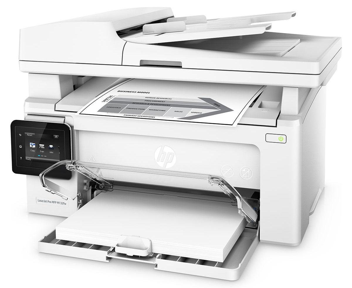 HP LaserJet Pro M132fw МФУG3Q65A#B09Оцените удобные возможности для работы с помощью компактного устройства HP LaserJet Pro M132fw и картриджей с технологией JetIntelligence. Это беспроводное МФУ позволяет печатать документы профессионального качества с различных мобильных устройств, сканировать и копировать материалы, использовать факсимильную связь, а также значительно экономить энергию. Компактное МФУ HP LaserJet Pro M132fw занимает совсем немного места, оно объединяет в себе функции печати, сканирование, копирования и отправки факсов. Вам не придется долго ждать. Печать до 22 страниц в минуту, выход первой страницы всего за 7,3 секунды. Используйте цветной сенсорный экран с диагональю 6,9 см, чтобы управлять заданиями и отправлять отсканированные документы по электронной почте или в сетевые папки. Печать с iPhone и iPad с помощью технологии AirPrint с автоматическим подбором масштаба в соответствии с форматом бумаги. С помощью функции HP ePrint можно...
