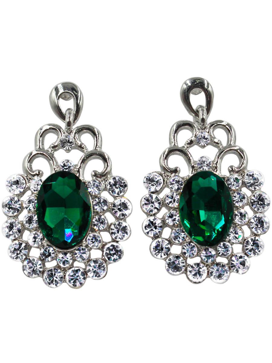 Серьги Taya, цвет: серебристый, зеленый. T-B-10734-EARR-SL.GREENT-B-10734-EARR-SL.GREENСерьги-гвоздики с заглушкой металл-пластик. Изящные серьги с крупной подвеской в рамочном картинном обрамлении. В центре изумрудный кристалл каплевидной формы. Размеры: длина серьги 4,0 см, ширина 2,3 см.