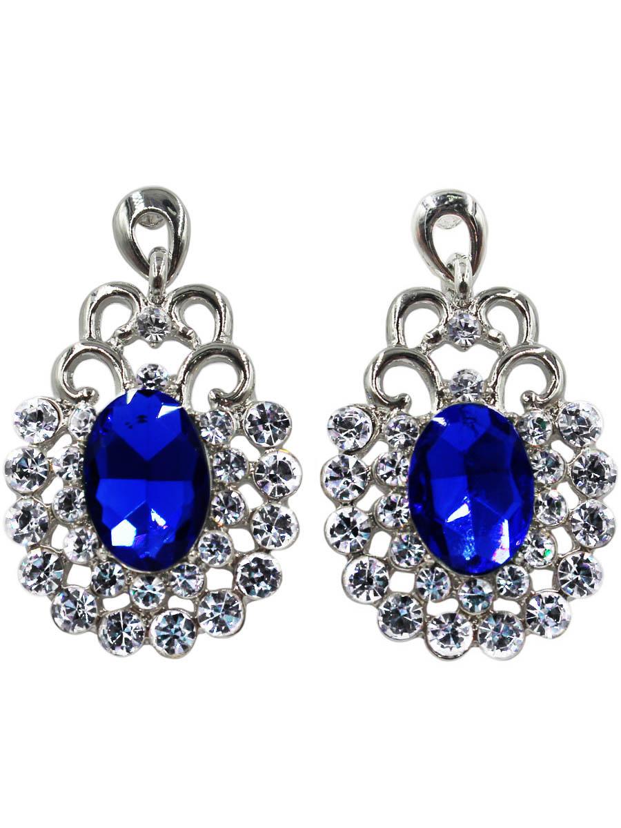 Серьги Taya, цвет: серебристый, темно-синий. T-B-10736-EARR-SL.D.BLUET-B-10736-EARR-SL.D.BLUEСерьги-гвоздики с заглушкой металл-пластик. Изящные серьги с крупной подвеской в рамочном картинном обрамлении. В центре темно-синий кристалл каплевидной формы. Размеры: 3,8*2,4 см