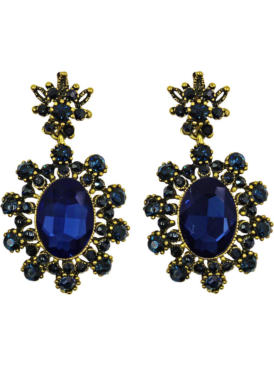 Серьги Taya, цвет: золотистый, темно-синий. T-B-10997-EARR-GL.D.BLUET-B-10997-EARR-GL.D.BLUEСерьги с английским замком. Серьги-солнышки, нарядные, заметные. Насыщенные яркие цвета кристаллов для любительниц чистых цветовых гамм оттенят цвет их глаз. Размеры: длина серьги 5,0 см, max ширина 2,8 см.