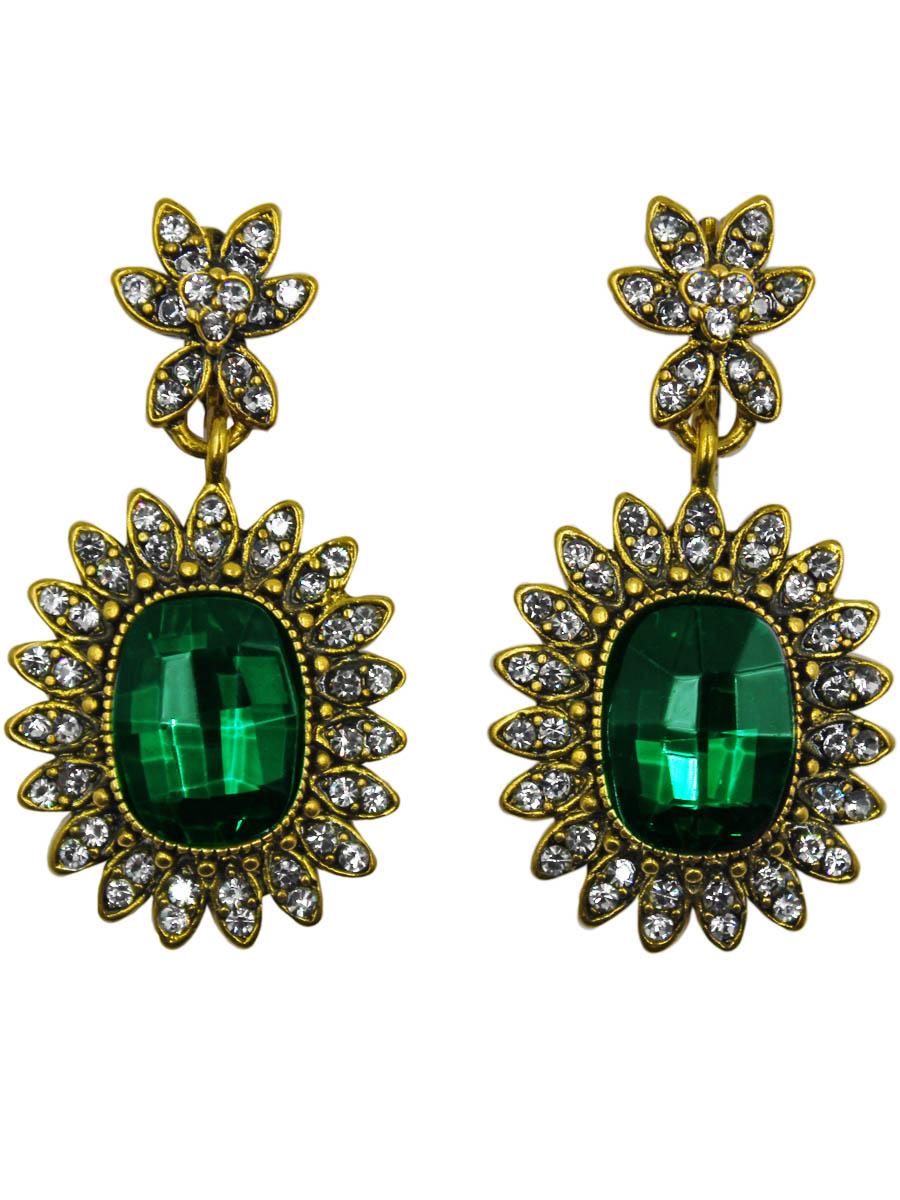 Серьги Taya, цвет: золотистый, зеленый. T-B-11002-EARR-GL.GREENT-B-11002-EARR-GL.GREENСерьги с английским замком изготовлены из гипоаллергенного бижутерного сплава. Серьги- солнышки, нарядные и заметные оформлены сверкающим кристаллом по середине и россыпью из страз.