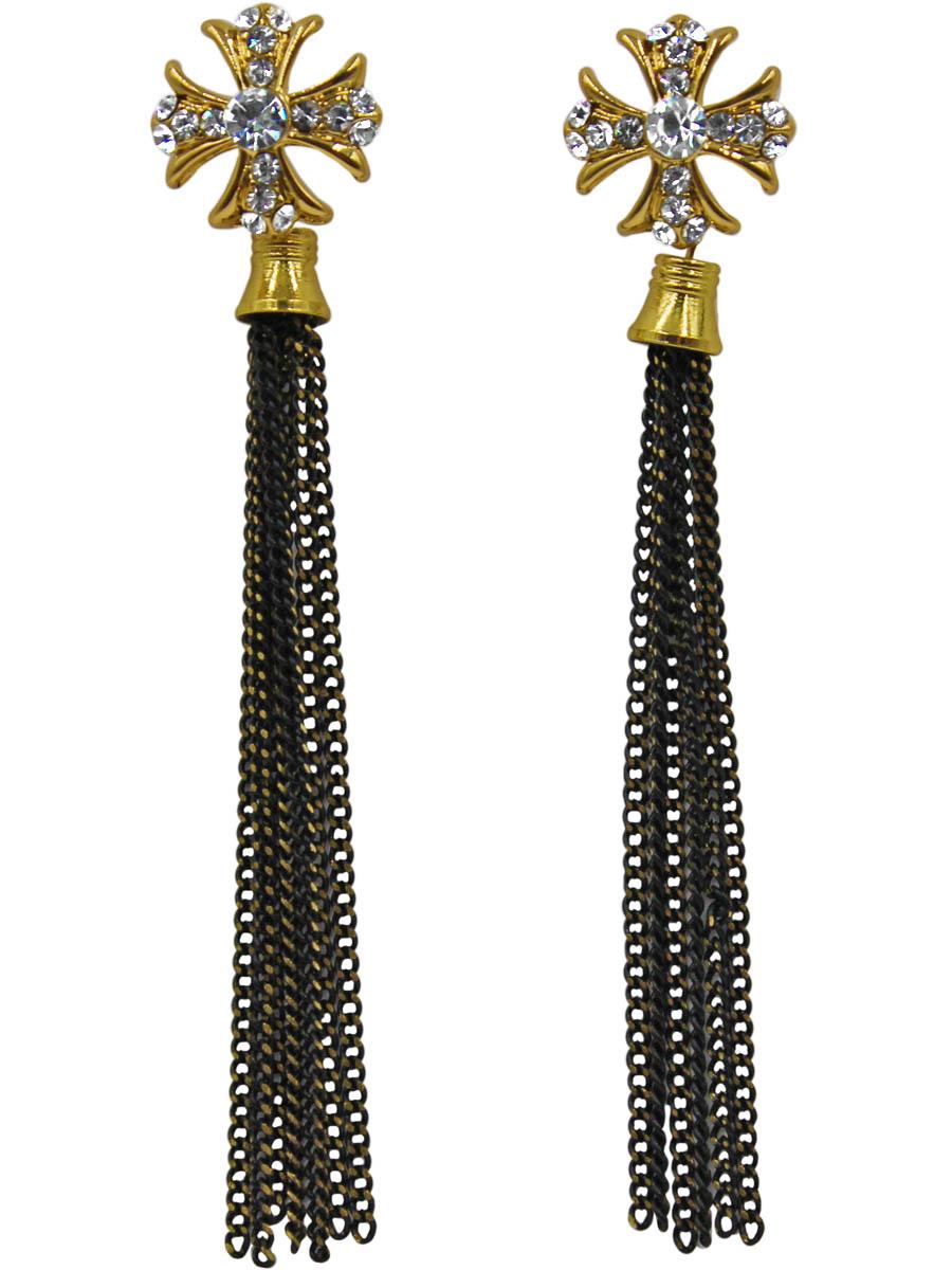 Серьги Taya, цвет: золотистый, черный. T-B-11298-EARR-GL.BLACKT-B-11298-EARR-GL.BLACKСерьги-гвоздики с заглушкой металл-пластик изготовлены из гипоаллергенного бижутерного сплава. Сережки представляют собой крестоообразную фигуру со свисающими длинными черно-золотыми цепочками.