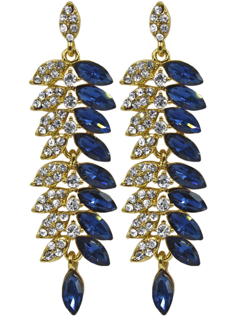 Серьги Taya, цвет: золотистый, синий. T-B-11326-EARR-GL.NAVYT-B-11326-EARR-GL.NAVYСерьги-гвоздики с заглушкой металл-пластик. Чудесный колосок, одна половина которого собрана из сапфировых кристаллов, а вторая половина усыпана прозрачными стразами. Размеры: длина серьги 7,2 см, ширина 1,8 см.