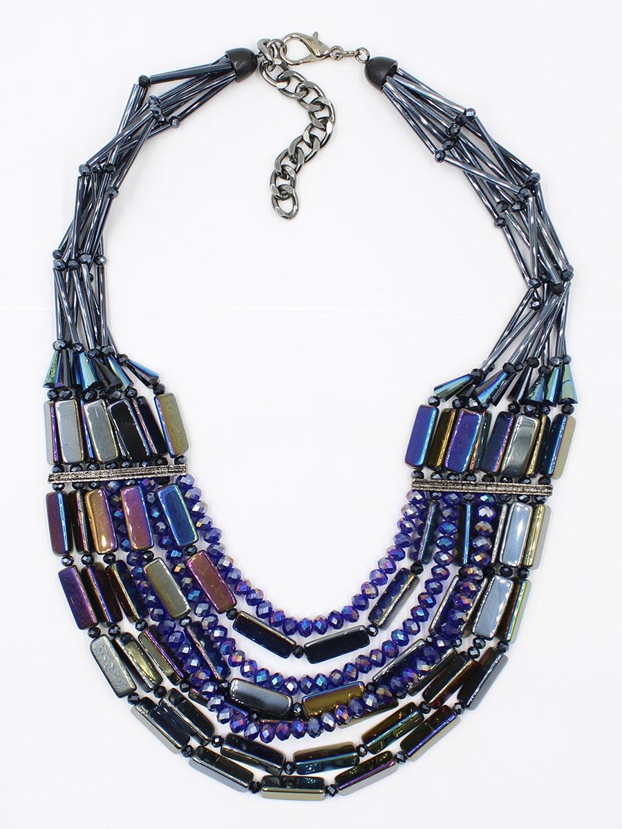 Колье Taya, цвет: мультиколор. T-B-11770-NECK-MULTIT-B-11770-NECK-MULTIКолье-ожерелье с повторяющимися деталями. Восемь нитей стекляруса собраны и пропущены через металлические пластины по бокам, далее украшение веером ниспадает на зону декольте. Размеры: длина 44,0 см + удлинение 8,0 см, ширина колье около 7,0 см.