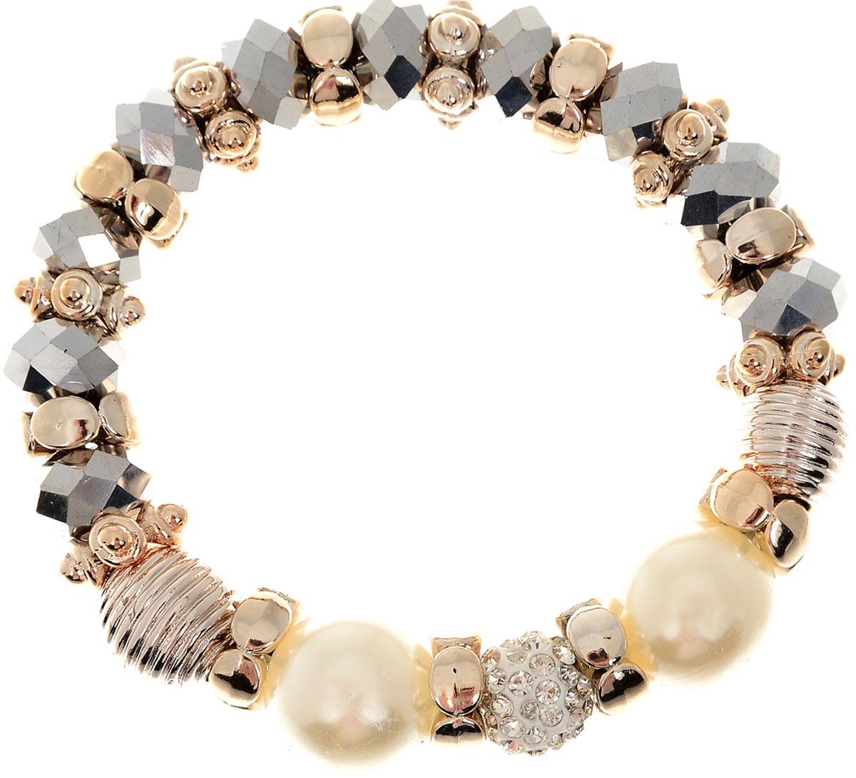 Браслет Taya, цвет: хематит. T-B-11916-BRAC-HEMATITET-B-11916-BRAC-HEMATITEУдобный, современный браслет на резинке. Половина его из кристаллов и золотых перемычек, другая - из жемчужин. Можно переворачивать и носить той стороной, которая сегодня подходит под одежду.