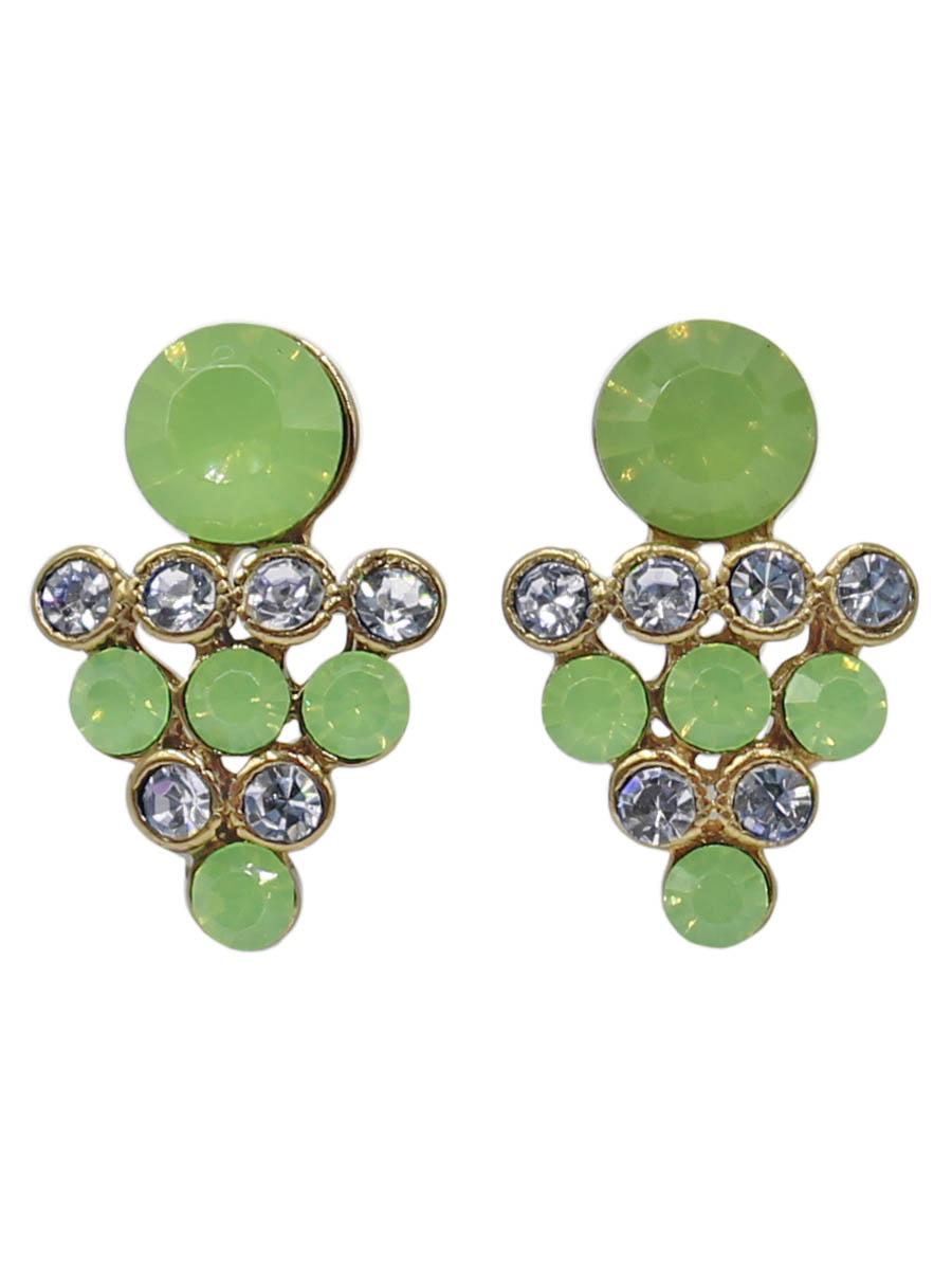 Серьги Taya, цвет: светло-зеленый. T-B-12264-EARR-LT.GREENT-B-12264-EARR-LT.GREENСерьги-гвоздики с заглушкой металл-пластик. Нежное женственное украшение с неяркими матовыми камнями. Форма маленькой виноградной грозди с вкусными ягодами. Размеры: длина серьги 2,0 см, ширина 1,2 см.