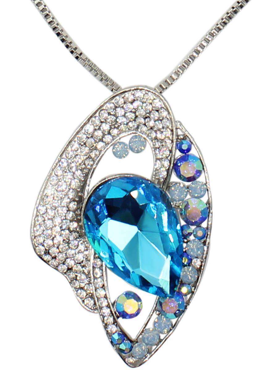 Колье Taya, цвет: синий, серебристый. T-B-12509-NECK-BL.SILVERT-B-12509-NECK-BL.SILVERИзысканная подвеска абстрактной формы с изумительным голубым кристаллом и россыпью страз. Размеры: длина 80 см + 7 см удлинение, подвеска 6,2 х 3,8 см