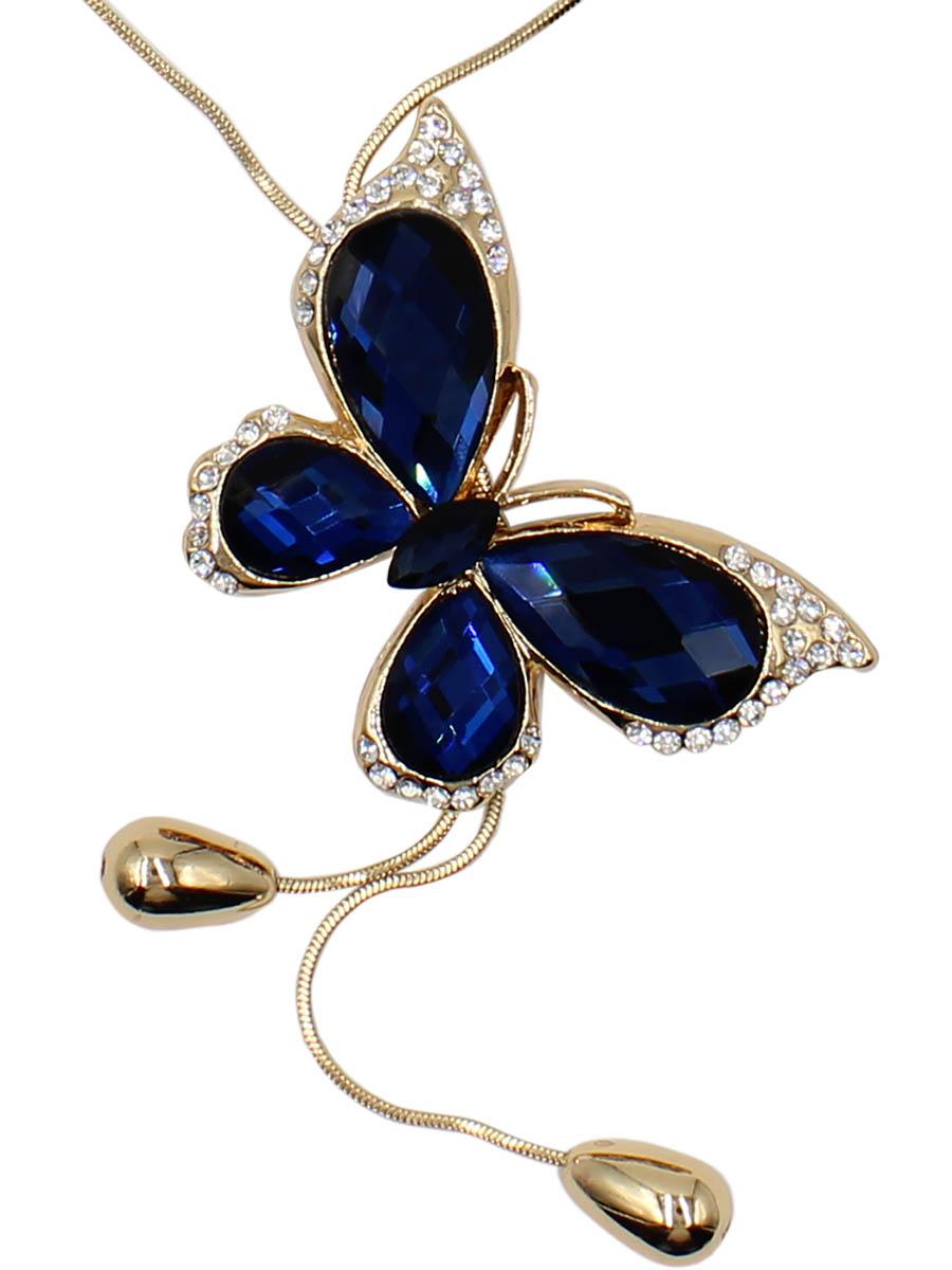 Колье Taya, цвет: золотистый, темно-синий. T-B-12510-NECK-GL.D.BLUET-B-12510-NECK-GL.D.BLUEКруглая цепь пропущена наискосок через два крыла изумительной бабочки. На концах цепи овальные гирьки. Крылья насекомого украшены синими-синими кристаллами. Бабочка объемная, ее толщина около 0,6 см. Размеры: длина 90 см, подвеска 5,0 х 3,5 см
