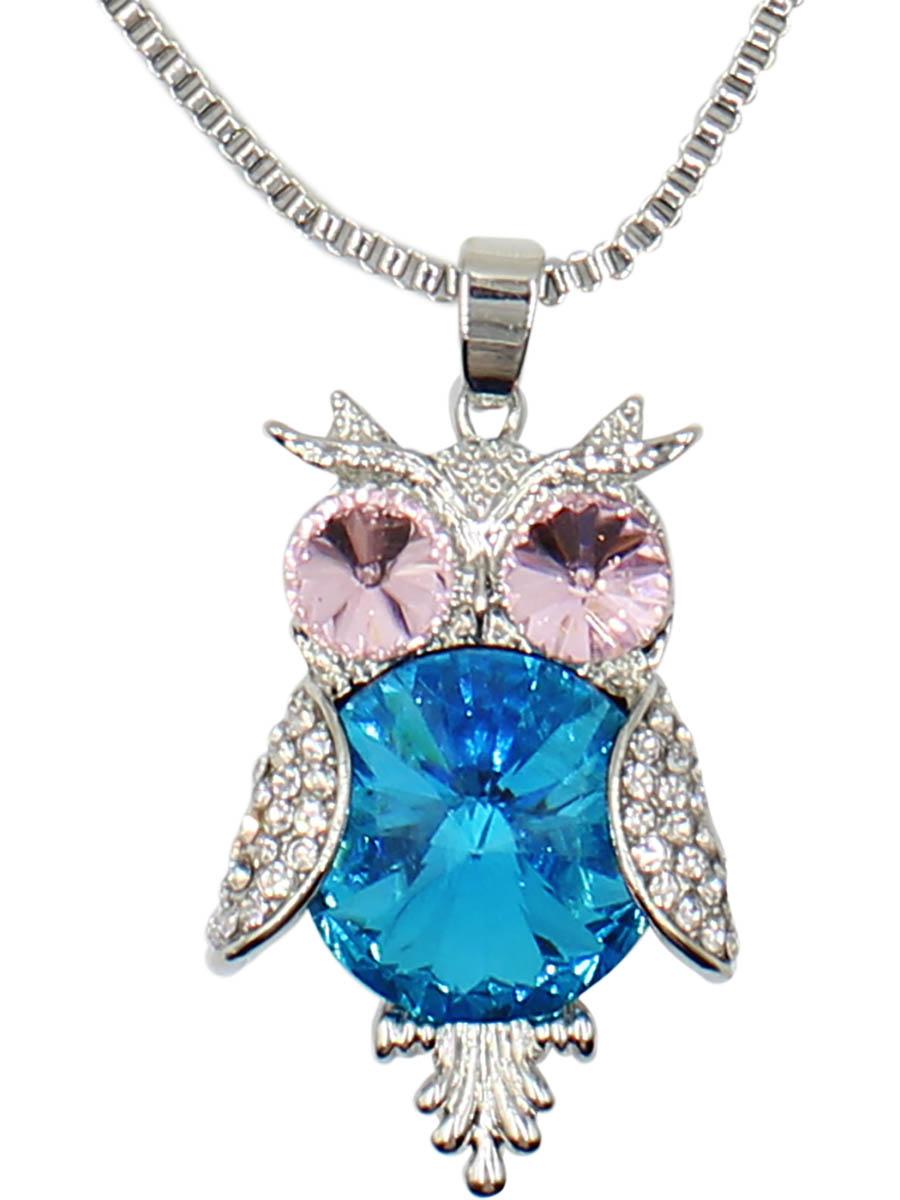 Колье Taya, цвет: синий, серебристый. T-B-12511-NECK-BL.SILVERT-B-12511-NECK-BL.SILVERМиленький совенок с выпученными розовыми глазками и голубым пузиком-кристаллом. Размеры: длина 70 см + удлинение 6 см, кулон 3,7 х 2,3 см.