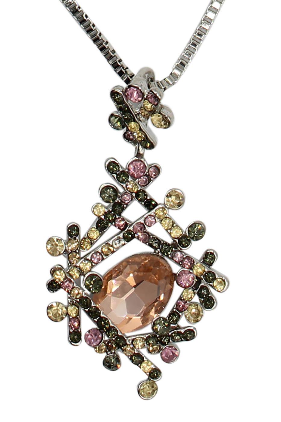 Колье Taya, цвет: серебристый, розовый. T-B-12513-NECK-SL.ROSET-B-12513-NECK-SL.ROSEЭлегантная некрупная подвеска со стразами пастельных оттенков словно собрана крест-на-крест. Размеры: длина 80 см плюс удлинение 7,0 см., подвеска 5,0 х 2,5 см