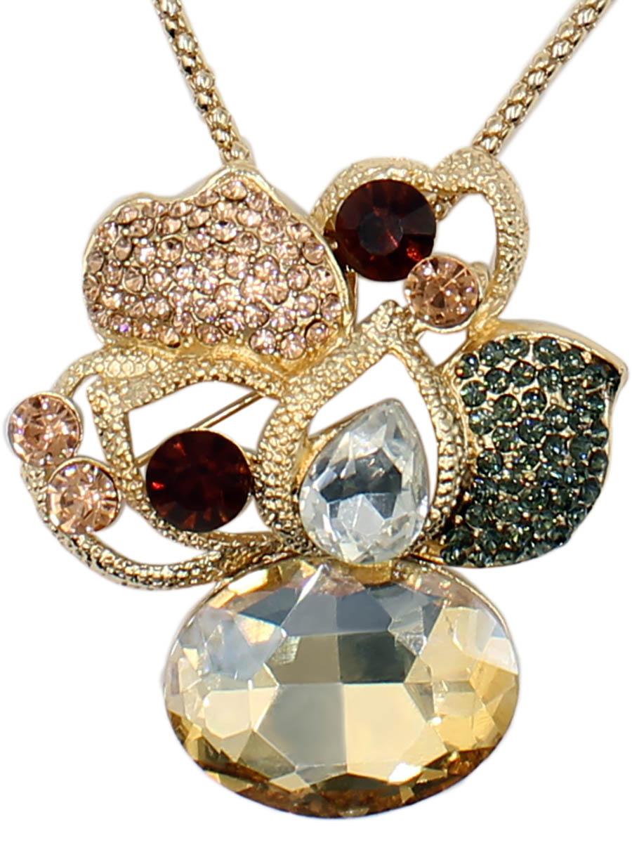 Колье Taya, цвет: золотистый. T-B-12516-NECK-GOLDT-B-12516-NECK-GOLDБрошь-кулон на цепи круглого плетения изготовлен из бижутерного сплава. Кулон выполнен в форме орхидеи с дополнением из сверкающих камней.