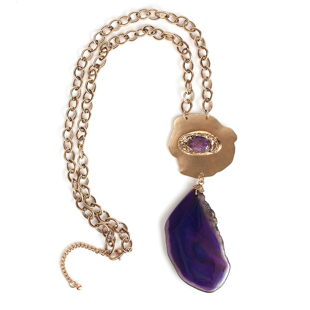 Колье Selena, цвет: золотистый, фиолетовый. 1010145110101451