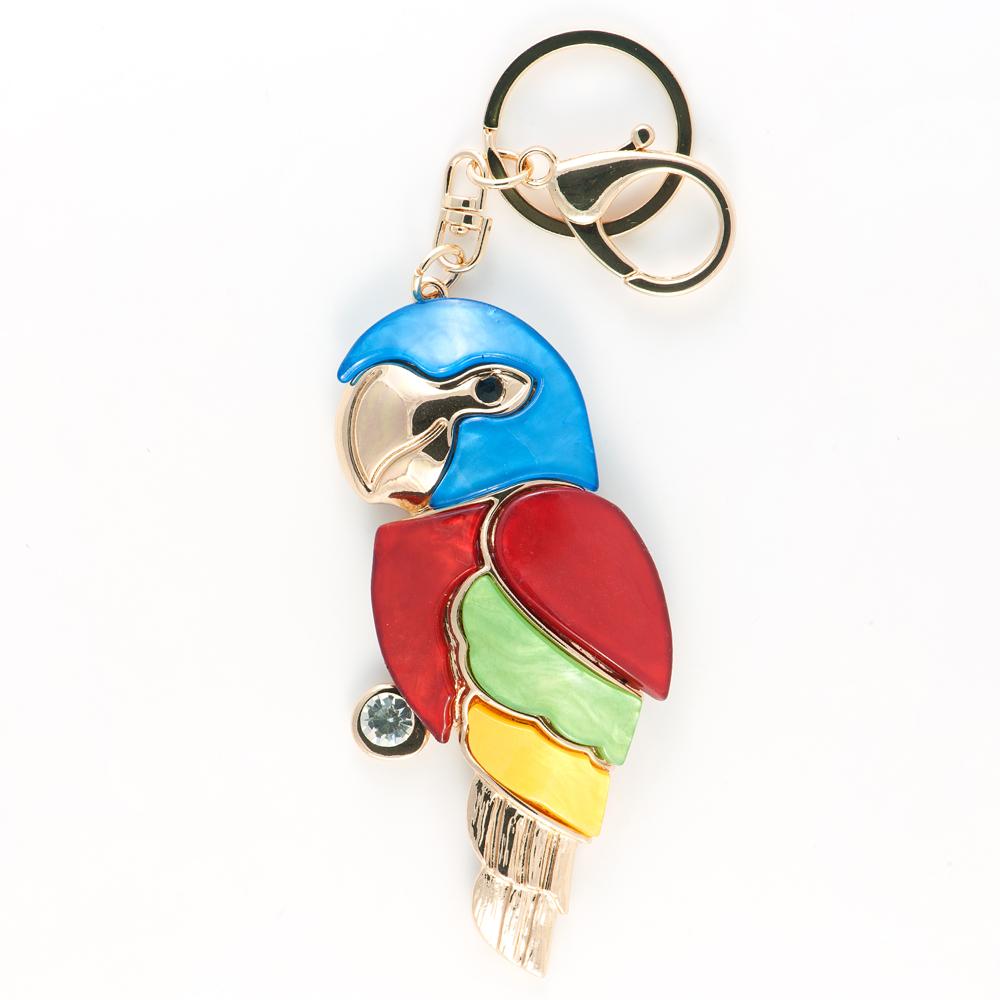 Брелок Selena Accenta, цвет: зеленый, красный, синий. 3002636030026360Брелок Selena Accenta изготовлен из латуни с гальваническим покрытием золотом и ацетата и декорирован кристаллом Preciosa. Выполнен в виде попугая. Итальянский ацетат - это дорогой высококачественный полимер, широко применяемый в модной индустрии. Он обладает удивительной особенностью имитировать самые разные природные рисунки и фактуры. Коллекция Accenta - это гимн современности! Модели выполнены в стиле элегантный кэжуал и глэм-рок, они органично впишутся в образ и молодых девушек, и взрослых женщин, чьи взгляды на моду свежи и открыты новому. Все украшения Accenta комплектуются между собой и создают гармоничный ансамбль. Украшения можно носить в любое время года, они уместны на празднике, на прогулке и на работе.