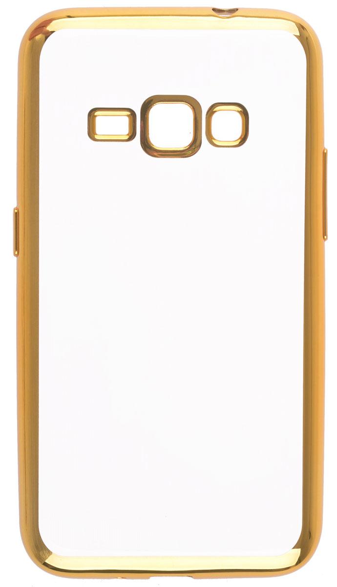Skinbox 4People Silicone Chrome Border чехол-накладка для Samsung Galaxy J1 (2016), Gold2000000105413Чехол Skinbox 4People Silicone Chrome Border надежно защищает ваш смартфон от внешних воздействий, грязи, пыли, брызг. Он также поможет при ударах и падениях, не позволив образоваться на корпусе царапинам и потертостям. Чехол обеспечивает свободный доступ ко всем функциональным кнопкам смартфона и камере.