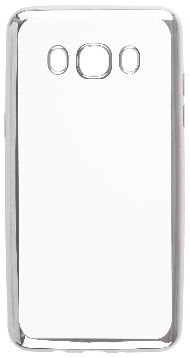 Skinbox 4People Silicone Chrome Border чехол-накладка для Samsung Galaxy J5 (2016), Silver2000000105468Чехол Skinbox 4People Silicone Chrome Border надежно защищает ваш смартфон от внешних воздействий, грязи, пыли, брызг. Он также поможет при ударах и падениях, не позволив образоваться на корпусе царапинам и потертостям. Чехол обеспечивает свободный доступ ко всем функциональным кнопкам смартфона и камере.