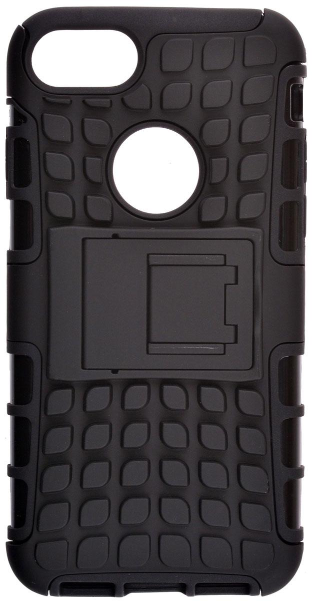 Skinbox Defender case чехол-накладка для Apple iPhone 7, Black2000000111209Skinbox Defender case надежно защищает ваш смартфон от внешних воздействий, грязи, пыли, брызг. Он также поможет при ударах и падениях, не позволив образоваться на корпусе царапинам и потертостям. Чехол обеспечивает свободный доступ ко всем функциональным кнопкам смартфона и камере.