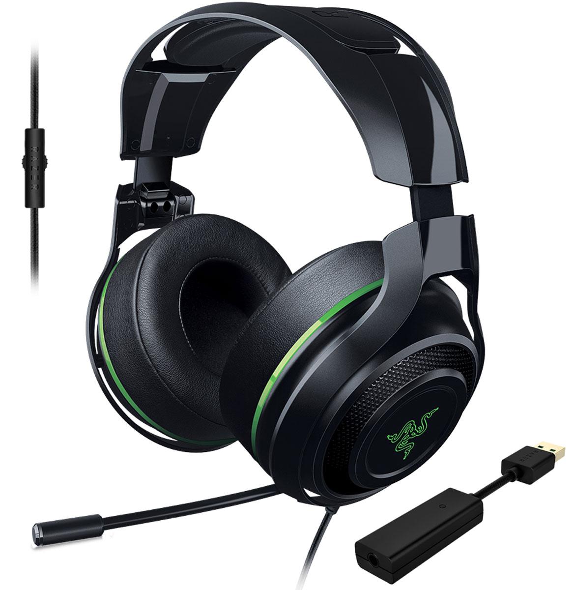 Razer ManO'War 7.1, Green игровые наушникиRZ04-01920300-R3M1Выйти на новый уровень звучания вам позволит игровая гарнитура Razer ManOWar 7.1. Благодаря современной системе виртуального объемного звука формата 7.1 и мягким, большим амбушюрам с хорошей шумоизоляцией вы словно оказываетесь в самом центре событий. Увеличенные динамики превосходного качества обеспечивают бесспорную реалистичность звукового окружения, а выдвижной микрофон позволяет с комфортом руководить победным наступлением. Заручитесь преимуществом абсолютного погружения в игру, которое дает вам Razer ManOWar 7.1, и наслаждайтесь торжеством победы в каждой битве. Гарнитура Razer ManOWar 7.1 оснащена запатентованной системой формирования виртуального объемного звука в формате 7.1. Система с самого начала разрабатывалась, чтобы дать возможность с головой уйти в игру. Специальный USB-адаптер обрабатывает аудио с минимальной задержкой и модулирует источник звука, формируя впечатляющее, реалистичное звуковое окружение. Гарнитура...