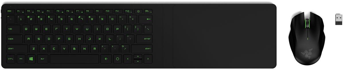 Razer Turret игровая клавиатура + мышьRZ84-01330100-B3G1Ключ к вашей победе — это более мощный арсенал, чем у ваших соперников. Беспроводной комплект клавиатуры и мыши Razer Turret по своим характеристикам не уступает игровым периферийным устройствам настольных систем — и при этом вы можете наслаждаться лучшими моментами игры прямо на диване перед большим экраном. В дополнение к неоспоримой точности, достигаемой за счет использования клавиатуры и мыши, эта высокоэргономичная подставка также позволяет вам набирать текст во время игры или просматривать страницы, не переключая устройства. Комплект Razer Turret был разработан для того, чтобы можно было играть в компьютерные игры на диване, не теряя в скорости и мощи. Набор состоит из игровой клавиатуры с полным подавлением фантомных нажатий и высокоточной симметричной игровой мыши с датчиком 3500 DPI. Со встроенным магнитным ковриком вы можете не беспокоиться о том, что мышь выскользнет из рук в самый ответственный момент игры. Razer Turret поддерживает...