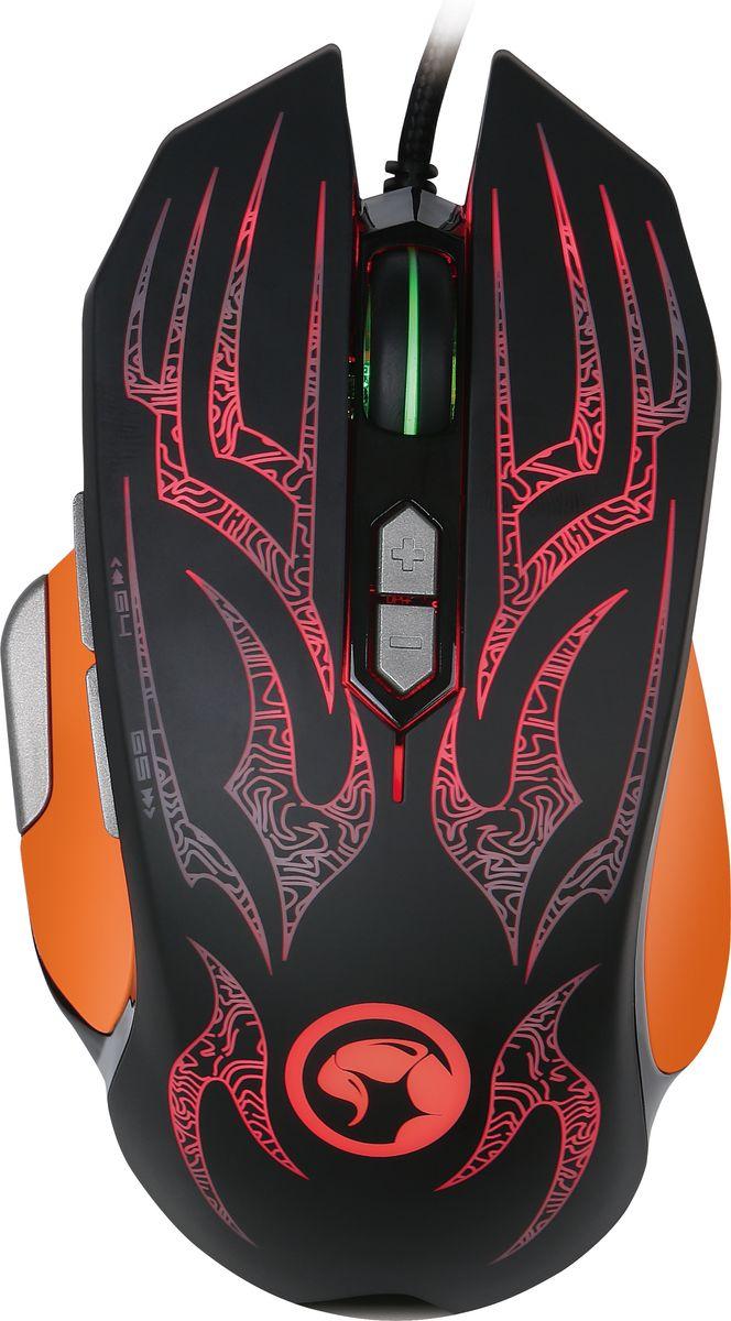 Marvo G920 мышь игроваяG920Игровая проводная оптическая мышь Marvo G920. Манипулятор удобно лежит в руке. Качественный оптический сенсор AVAGO 3050 имеет многочисленные настройки разрешения от 500 до 4000 dpi с возможностью изменения на лету. Девайс оснащен 8 кнопками с переключателями OMRON способными выдержать до 10 миллионов нажатий и четырехцветной подсветкой.