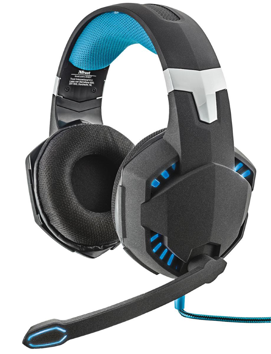 Trust GXT 363 7.1 Bass Vibration игровая гарнитура20407Игровая гарнитура Trust GXT 363 с подсветкой, технологией вибрации на низких частотах и объемным звучанием формата 7.1. Технология виртуального объемного звука формата 7.1 создает впечатление реалистичного звучания Мощные динамики диаметром 50 мм с вибрацией на низких частотах USB-подключение для лучшего качества передачи звука и голоса Удобные амбушюры, покрытые специальным сетчатым материалом Кнопки регулирования громкости и отключения звука на проводе Не запутывающийся нейлоновый кабель в оплетке (3 м) Подсветка наушников и микрофона