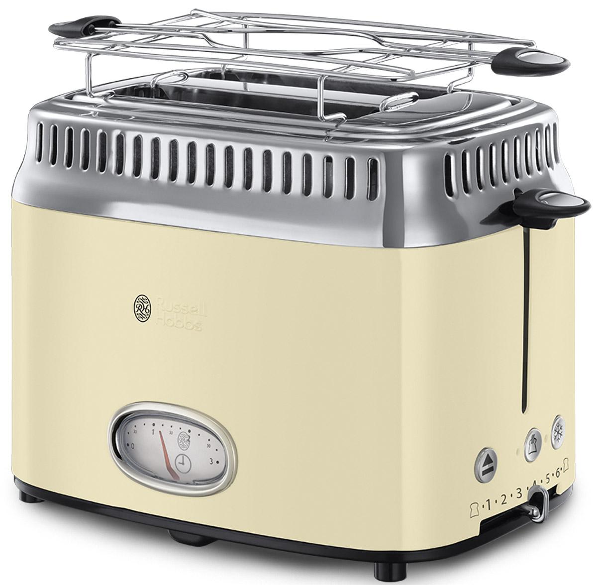 Russell Hobbs Retro, Vintage Cream тостер21682-56Новинка сезона Осень-Зима 2016 года, тостер Russell Hobbs Retro входит в коллекцию приборов для Завтраков Retro, которая включает в себя еще и Чайник и Кофеварку. Если вы любите тосты, эта привлекательная модель тостера предоставит вам такое удовольствие в полной мере. Предпочитаете слегка подогретый хлеб или тосты с поджаристой хрустящей корочкой? Выберите нужную степень поджарки тостов и наслаждайтесь результатом. Стильная винтажная шкала обратного отсчета времени приготовления наглядно отображает время до готовности тостов. Хороший завтрак это начало хорошего дня, но времени на завтрак всегда критично мало. Понимая это, Russell Hobbs оснастил новые тостеры Retro технологией быстрого приготовления, которая сбережет ценные минуты с утра. Функция lift and look позволяет проверить готовность тостов, не прерывая процесс приготовления. В комплект к тостеру входит удобная решеточка для подогрева круассанов, бейглов и сэндвичей, а выдвижной лоток...