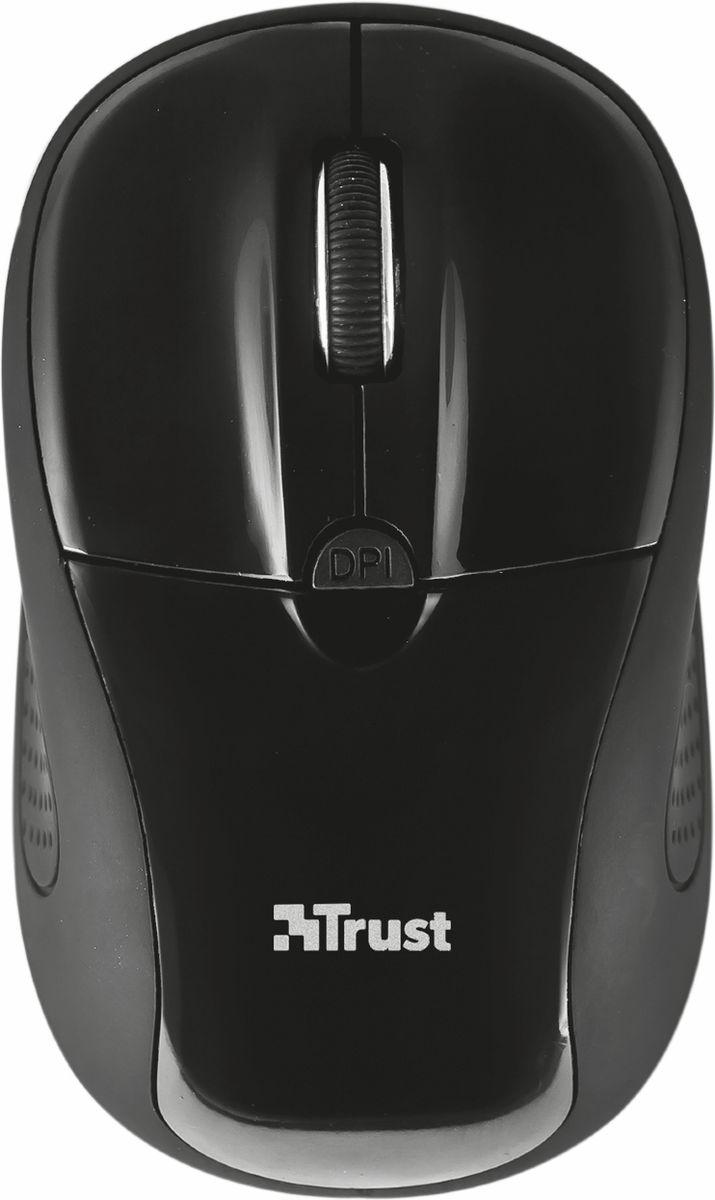 Trust Primo Wireless Mouse, Black мышь20322Миниатюрная беспроводная оптическая мышь Trust Primo непременно подойдет любому пользователю ПК. Радиус действия беспроводной связи составляет 6 метров, что обеспечивает большую свободу действий. Оптический сенсор с разрешением 800/1600 dpi обеспечивает максимально точное позиционирование курсора. Благодаря симметричной форме эта мышка подходит как правшам, так и левшам. Миниатюрный микроприемник можно хранить в корпусе мыши. Trust Primo имеет выключатель для экономии заряда батареи.