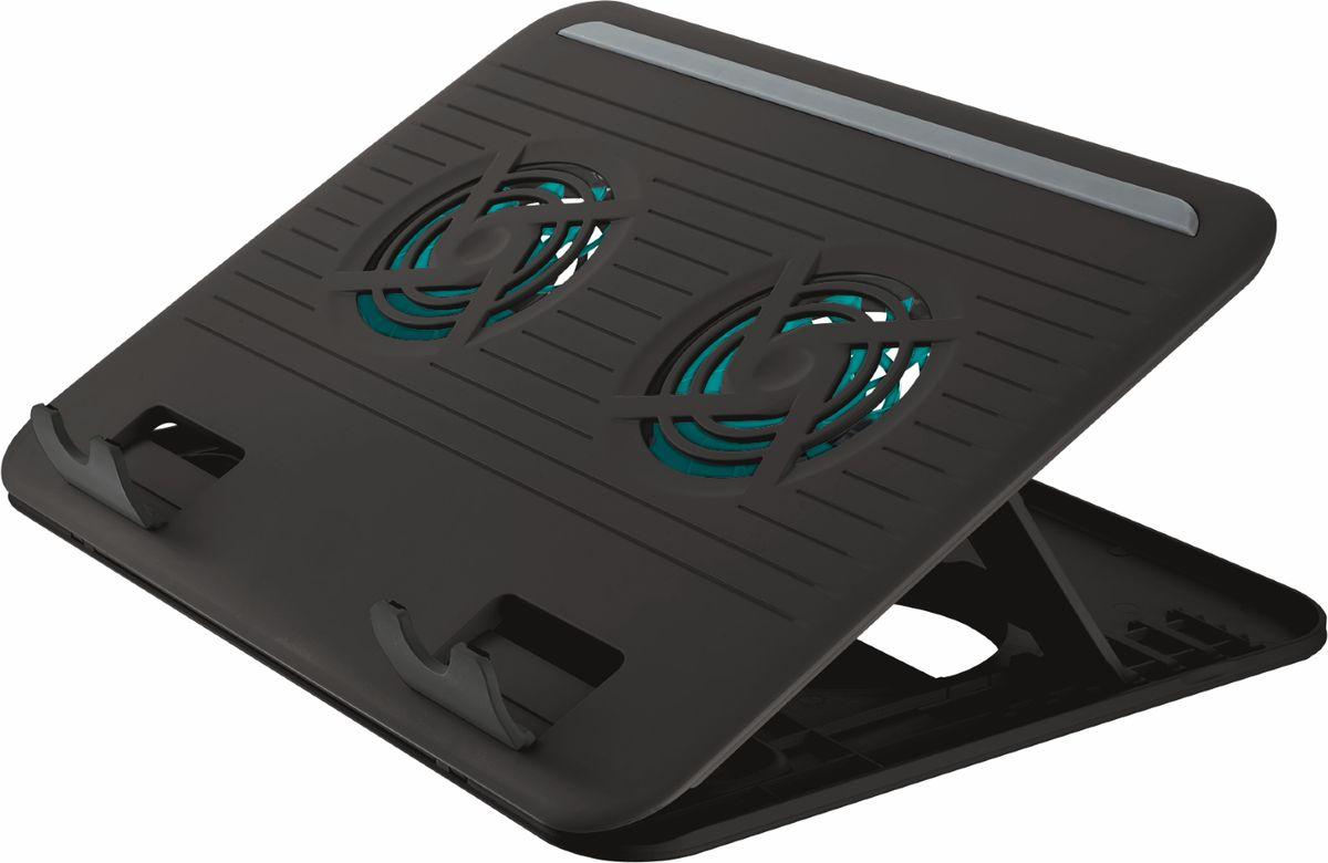 Trust Cyclone Notebook Cooling Stand, Black охлаждающая подставка для ноутбука17866Подставка Trust Cyclone Notebook Cooling Stand для ноутбука с регулируемой высотой и встроенным вентилятором. Защитные резиновые накладки предотвращают скольжение портативного компьютера и образование царапин. Подходит для всех ноутбуков, нетбуков и устройств MacBook с размером экрана до 16 дюймов. Предусмотрена возможность хранить кабель и адаптер USB внутри подставки в периоды, когда подставка не используется.