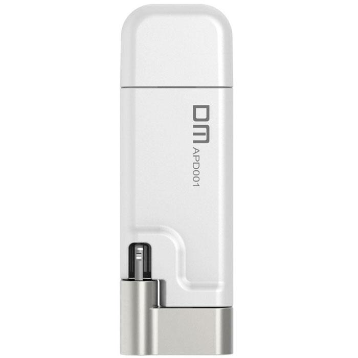 DM Aiplay 64GB, White USB-накопитель6936657001203USB-накопитель DM Aiplay предназначен для устройств Apple, поддерживающих интерфейс Lightning. Этот накопитель расширяет ёмкость диска iPhone, iPad, iPod. Разъём Lightning расположен на поворотном штекере, позволяющем расположить корпус накопителя за задней стенкой смартфона, плеера или планшета. Поворотный коннектор увеличивает комфорт пользователей и позволяет хранить мобильное устройство в кармане куртки или сумки с подключённой флэшкой. Фирменное, бесплатное приложение DM Aiplay скачивается с App Store на устройство владельцев и расширяет возможности накопителя. Приложение сохраняет фото с камеры на флэшку, минуя диск мобильного устройства, позволяет переносить файлы с компьютера на телефон, плеер или планшет и резервирует список контактов, фотоальбом или другую ценную информацию.