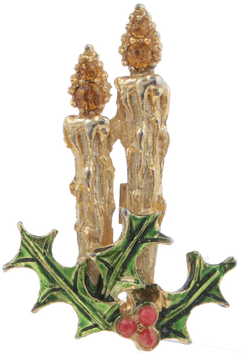 Винтажная брошь Рождественские свечи. Ювелирный сплав золотого тона, эмаль, кристаллы. США, 1970-е годы40059970Винтажная брошь Рождественские свечи. Ювелирный сплав золотого тона, эмаль, кристаллы. США, 1970-е годы. Размер броши: 2,5 х 4 см. Сохранность очень хорошая.