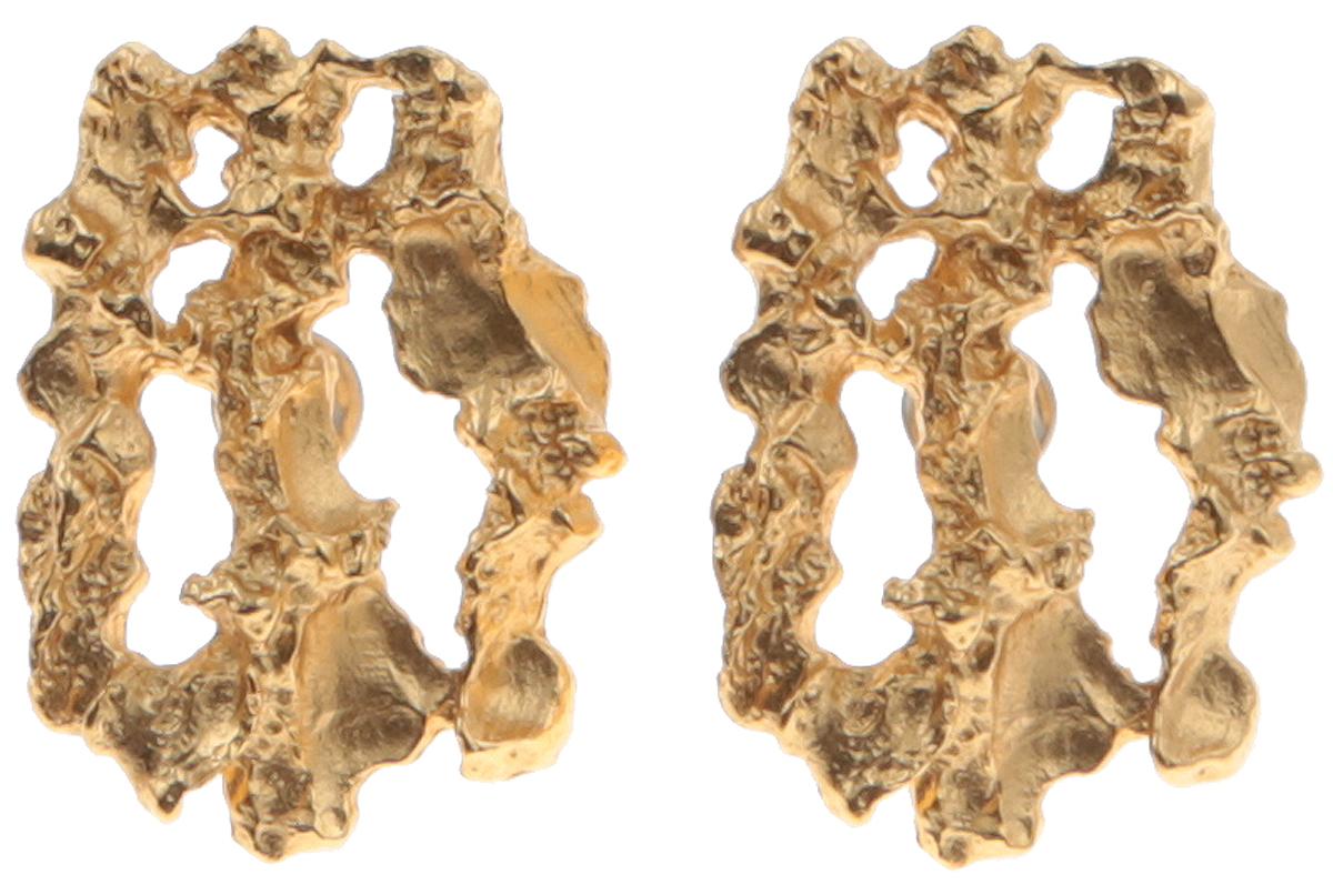 Винтажные серьги Золотая фольга. Ювелирный сплав золотого тона. Smithsonian. CША, 1970-е годыr964q100Винтажные серьги Золотая фольга. Ювелирный сплав золотого тона. Smithsonian. CША, 1970-е годы. Размер серег 2 х 2,5 см. Сохранность хорошая. На внутренней стороне изделия стоит клеймо Smithsonian.