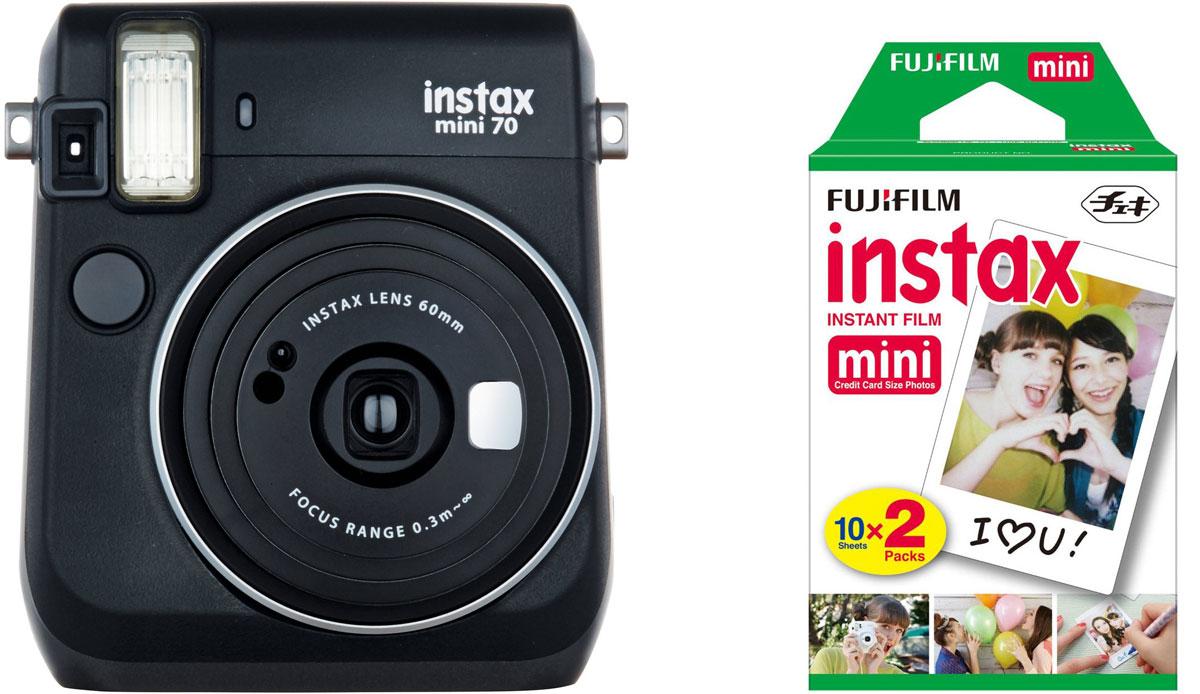 Fujifilm Instax Mini 70, Black фотокамера мгновенной печати + Colorfilm Instax Mini (10/2PK) картридж