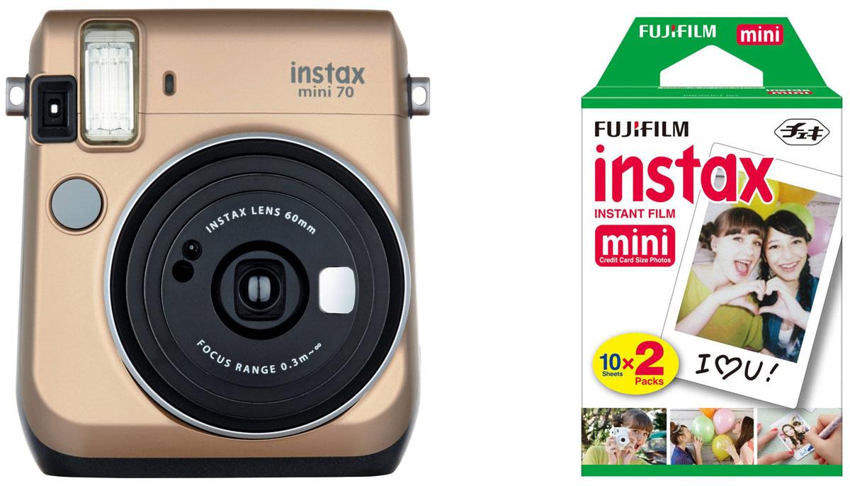 Fujifilm Instax Mini 70, Gold фотокамера мгновенной печати + Colorfilm Instax Mini (10/2PK) картридж16513891С камерой Fujifilm Instax Mini 70 вы превратите серые будни в особенные дни, наполненные улыбками. Чтобы проводить время весело, всегда и везде берите с собой этот стильный фотоаппарат. Главной особенностью камеры является функция автоматического контроля экспозиции, которая позволяет запечатлеть, как объект съемки, так и фон в их естественной освещенности. Помимо этого Instax Mini 70 может похвастаться отдельным режимом съемки для создания cелфи. Использование режима selfie обеспечивает оптимальную яркость и расстояние для съемки автопортретов. Вы также можете проверить кадрирование в специальном зеркальце рядом с объективом. Высокопроизводительная вспышка автоматически определяет яркость окружающего освещения и устанавливает оптимальную выдержку - специальные настройки не требуются! С помощью функции Hi-Key можно запечатлеть яркие, красивые тона кожи. Также имеются режимы для съемки макро и пейзажей. Для максимального...