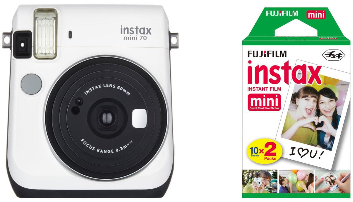 Fujifilm Instax Mini 70, White фотокамера мгновенной печати + Colorfilm Instax Mini (10/2PK) картридж16496031С камерой Fujifilm Instax Mini 70 вы превратите серые будни в особенные дни, наполненные улыбками. Чтобы проводить время весело, всегда и везде берите с собой этот стильный фотоаппарат. Главной особенностью камеры является функция автоматического контроля экспозиции, которая позволяет запечатлеть, как объект съемки, так и фон в их естественной освещенности. Помимо этого Instax Mini 70 может похвастаться отдельным режимом съемки для создания cелфи. Использование режима selfie обеспечивает оптимальную яркость и расстояние для съемки автопортретов. Вы также можете проверить кадрирование в специальном зеркальце рядом с объективом. Высокопроизводительная вспышка автоматически определяет яркость окружающего освещения и устанавливает оптимальную выдержку - специальные настройки не требуются! С помощью функции Hi-Key можно запечатлеть яркие, красивые тона кожи. Также имеются режимы для съемки макро и пейзажей. Для максимального...