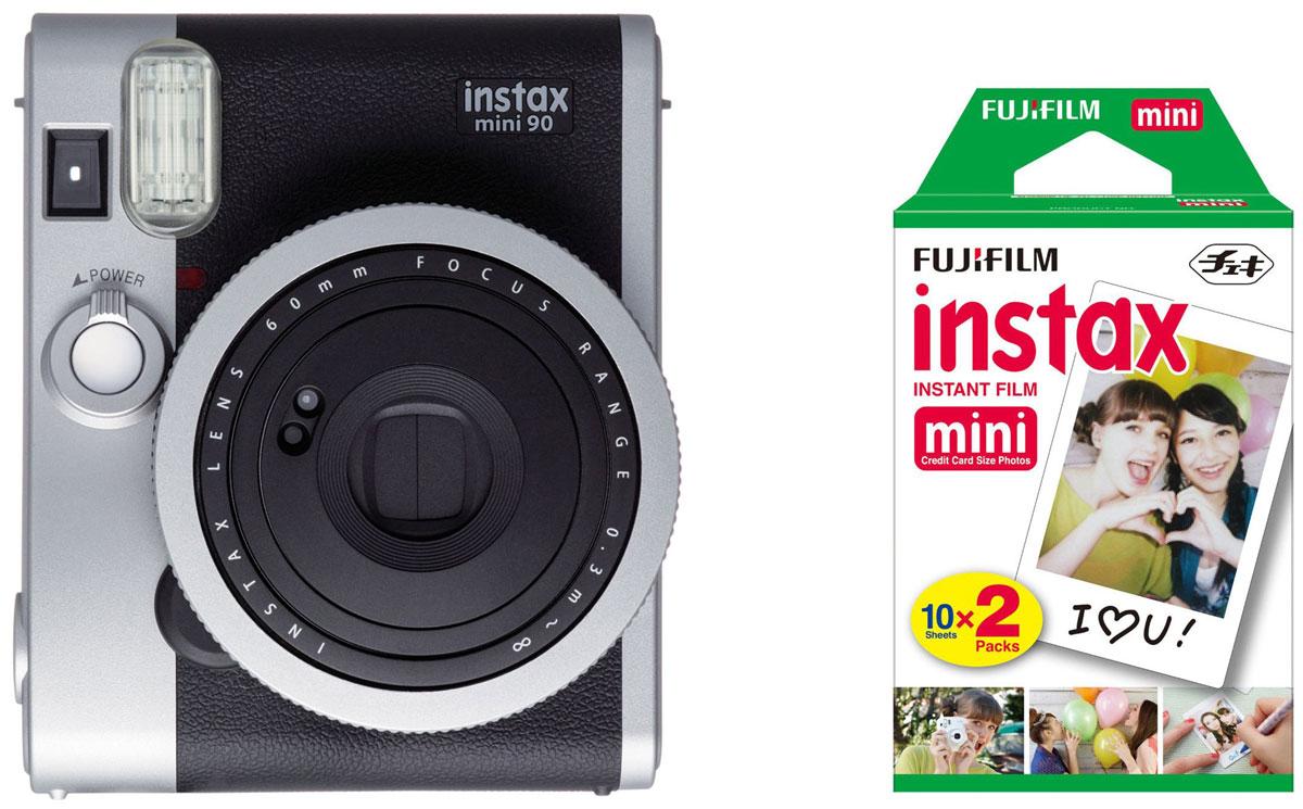 Fujifilm Instax Mini 90, Black фотокамера мгновенной печати + Colorfilm Instax Mini (10/2PK) картридж