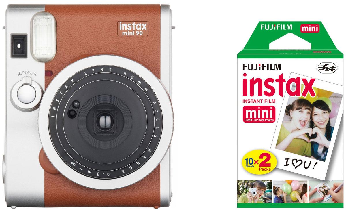Fujifilm Instax Mini 90, Brown фотокамера мгновенной печати + Colorfilm Instax Mini (10/2PK) картридж16423981Камера для моментальных снимков Fujifilm Instax mini 90 NEO CLASSIC с новыми и улучшенными функциями и элегантным дизайном в стиле ретро (двухцветное серебристо-черное оформление корпуса) для энтузиастов фотографии, которые хотят получить интересное устройство или камеру более высокого класса по сравнению с моделями начального уровня. Концепция камеры - неоклассика (NEO CLASSIC), что отражено в названии продукта. Новая камера имеет режим двойной экспозиции, длинной экспозиции, макросъемки, режимы праздник, ребенок, ландшафт, таймер автоспуска, отключаемую вспышку, регулировку яркости, 2 кнопки спуска затвора, перезаряжаемую литий- ионную батарею, большой ЖК-экран на задней панели и кольцо выбора режимов на передней. Камера также обеспечивает высокое качество снимков благодаря новой программируемой вспышке. Все эти функции и преимущества делают данную камеру идеальным выбором для фотографов, которые хотят получать максимум удовольствия от съемки...