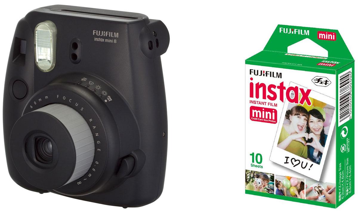 Fujifilm Instax Mini 8, Black фотокамера мгновенной печати + Colorfilm Instax Mini Glossy (10/PK) картридж16443864Камера с технологией моментальной печати Fujifilm INSTAX Mini 8 позволяет печатать фотографии размера визитной карточки сразу после съемки. Обладая теми же конструктивными и эксплуатационными характеристиками, что и INSTAX mini 7S, INSTAX mini 8 примерно на 10% меньше mini 7S по объему корпуса. Процесс кадрирования стал проще благодаря видоискателю, который передает четкую картинку в реальном времени (даже при съемке под углом) и отличается более наглядной центральной меткой. К функциям съемки добавлен режим High-key - повышение диафрагмы на 2/3 ступени. Чтобы сделать фотографию с яркими и мягкими цветами, которые так полюбились девушкам, достаточно прокрутить диск в режим High-key. С момента своего выхода в свет в 1998 году камера INSTAX mini стала очень популярной благодаря простому управлению, остроумному дизайну и удивительному качеству снимков. Судя по тому, насколько распространен в наше время обмен цифровыми фотографиями, способов...