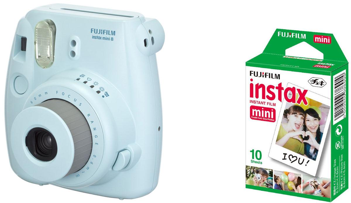Fujifilm Instax Mini 8, Blue фотокамера мгновенной печати + Colorfilm Instax Mini Glossy (10/PK) картридж