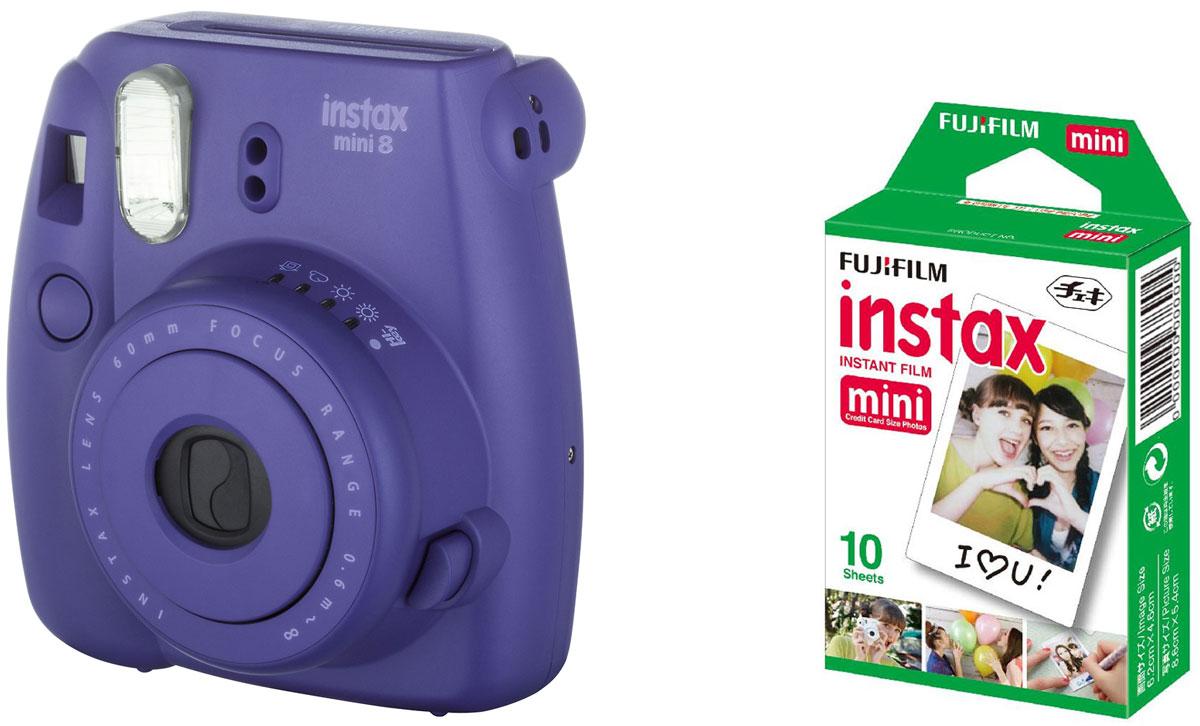 Fujifilm Instax Mini 8, Grape фотокамера мгновенной печати + Colorfilm Instax Mini Glossy (10/PK) картридж16443840Камера с технологией моментальной печати Fujifilm INSTAX Mini 8 позволяет печатать фотографии размера визитной карточки сразу после съемки. Обладая теми же конструктивными и эксплуатационными характеристиками, что и INSTAX mini 7S, INSTAX mini 8 примерно на 10% меньше mini 7S по объему корпуса. Процесс кадрирования стал проще благодаря видоискателю, который передает четкую картинку в реальном времени (даже при съемке под углом) и отличается более наглядной центральной меткой. К функциям съемки добавлен режим High-key - повышение диафрагмы на 2/3 ступени. Чтобы сделать фотографию с яркими и мягкими цветами, которые так полюбились девушкам, достаточно прокрутить диск в режим High-key. С момента своего выхода в свет в 1998 году камера INSTAX mini стала очень популярной благодаря простому управлению, остроумному дизайну и удивительному качеству снимков. Судя по тому, насколько распространен в наше время обмен цифровыми фотографиями, способов...