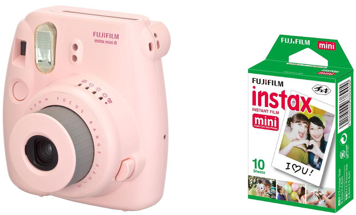 Fujifilm Instax Mini 8, Pink фотокамера мгновенной печати + Colorfilm Instax Mini Glossy (10/PK) картридж