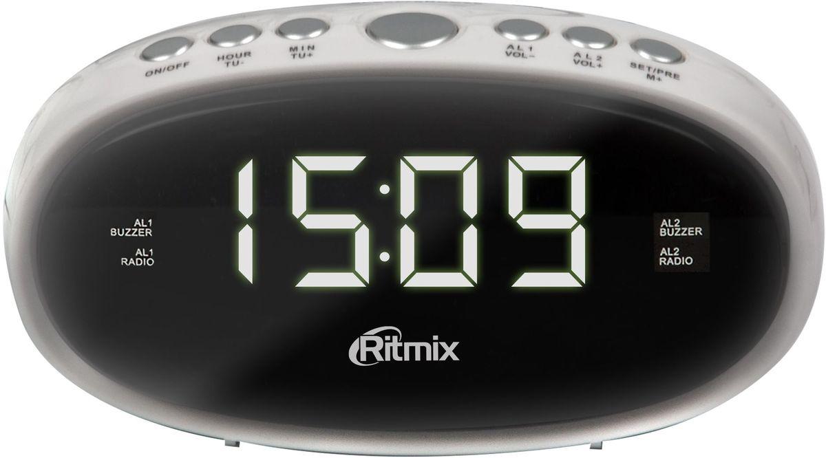 Ritmix RRC-616, White радио-будильникRRC-616 WHITERitmix RRC-616 - это компактные FM-радиочасы с функцией будильника. Модель оснащена дисплеем с легкой и понятной индикацией, высота цифр - 1,5 см. Радиочасы имеют множество полезных функций: цифровую настройку на 10 станций, таймер выключения, регулировку настройки яркости. Компактный размер 2 будильника Повтор сигнала будильника Таймер выключения Внешняя антенна для уверенного приема Кнопочное управление Питание от сети (батарейки служат только для сохранения настроек времени и будильника) Регулировка настройки яркости