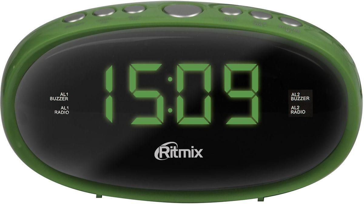 Ritmix RRC-616, Green радио-будильникRRC-616 GREENRitmix RRC-616 - это компактные FM-радиочасы с функцией будильника. Модель оснащена дисплеем с легкой и понятной индикацией, высота цифр - 1,5 см. Радиочасы имеют множество полезных функций: цифровую настройку на 10 станций, таймер выключения, регулировку настройки яркости. Компактный размер 2 будильника Повтор сигнала будильника Таймер выключения Внешняя антенна для уверенного приема Кнопочное управление Питание от сети (батарейки служат только для сохранения настроек времени и будильника) Регулировка настройки яркости