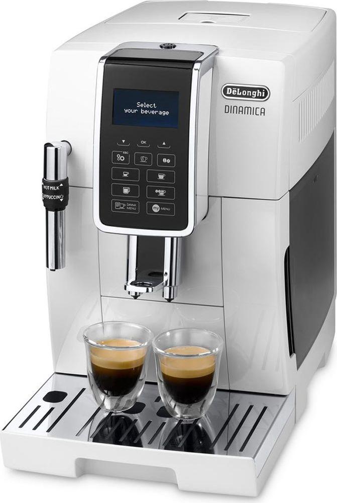 DeLonghi Dinamica ECAM 350.35.W кофемашина0132220018Кофемашина DeLonghi Dinamica ECAM 350.35.W оборудована интуитивной панелью управления с LCD дисплеем и тактильными кнопками. Благодаря функции My Menu можно составить специальное меню напитков, которое легко настраивать и сохранять в памяти устройства. Для удобства эксплуатации предусмотрена возможность приготовление кофе как из целых, так и молотых зерен. Регулировка дозатора под высоту чашки (мин/макс): 84 мм / 135 мм Программирование жесткости воды Емкость контейнера для зерен: 300 г Емкость контейнера для кофейной гущи: 14 порций Автоматическая программа промывки и ополаскивания Декальцинация