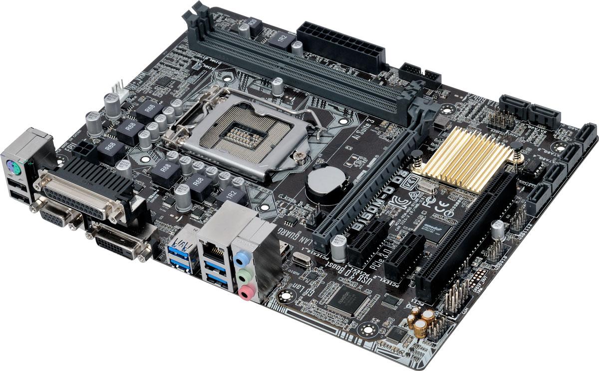 ASUS B150M-D материнская платаB150M-DДоступная материнская плата Asus B150M-D формата micro-ATX на базе чипсета Intel B150. Данная материнская плата совместима с процессорами Intel для разъема LGA1151, которые включают в себя интегрированное графическое ядро и контроллеры памяти и шины PCI Express с поддержкой двухканальной DDR4 и 16 линий PCI Express 3.0/2.0. Intel B150 Express – это новейший чипсет, оптимизированный для работы с процессорами Intel серий Core i7, Core i5, Core i3, Pentium и Celeron, устанавливаемыми в разъем LGA1151. Он отличается высокой стабильностью, производительностью и пропускной способностью. B150 поддерживает до шести портов USB 3.0, шесть портов SATA 6 Гбит/с, а также позволяет использовать графическое ядро, встроенное в современные процессоры. Intel SBA (Small Business Advantage) – это сочетание аппаратных и программных средств повышения безопасности и производительности компьютерных систем, предназначенных для корпоративных пользователей....