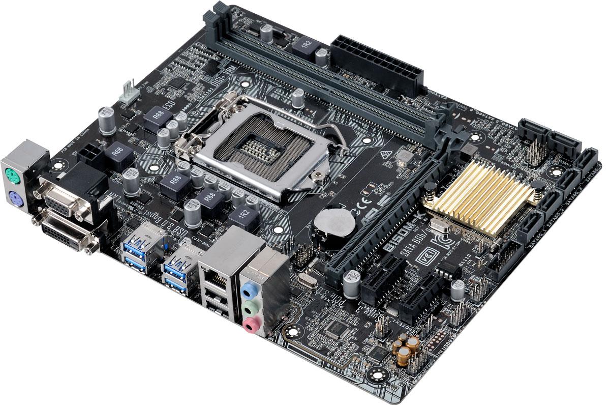 Asus B150M-K материнская платаB150M-KДоступная материнская плата Asus B150M-K формата micro-ATX на базе чипсета Intel B150 Данная материнская плата совместима с процессорами Intel для разъема LGA1151, которые включают в себя интегрированное графическое ядро и контроллеры памяти и шины PCI Express с поддержкой двухканальной DDR4 и 16 линий PCI Express 3.0/2.0. Intel B150 Express – это новейший чипсет, оптимизированный для работы с процессорами Intel серий Core i7, Core i5, Core i3, Pentium и Celeron, устанавливаемыми в разъем LGA1151. Он отличается высокой стабильностью, производительностью и пропускной способностью. B150 поддерживает до шести портов USB 3.0, шесть портов SATA 6 Гбит/с, а также позволяет использовать графическое ядро, встроенное в современные процессоры. Intel SBA (Small Business Advantage) – это сочетание аппаратных и программных средств повышения безопасности и производительности компьютерных систем, предназначенных для корпоративных пользователей....