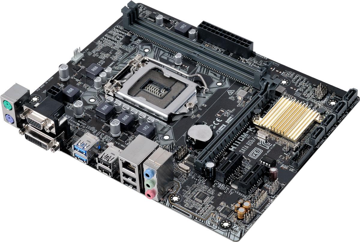Asus H110M-K материнская платаH110M-KНедорогая micro-ATX плата Asus H110M-K серии H110 с поддержкой памяти DDR4. Данная материнская плата поддерживает процессоры Intel Core i7/i5/i3 шестого поколения, а также процессоры Pentium/Celeron в корпусе LGA1151. Особенностью этих процессоров являются встроенные контроллеры памяти и шины PCI Express, обеспечивающие работу двухканальной памяти DDR4 (2 DIMM) и 16 линий PCI Express 3.0/2.0, а также мощное интегрированное графическое ядро. Intel H110 - это новейший чипсет, оптимизированный для работы с процессорами Intel серий Core i3, Core i7, Core i5, Pentium, Celeron шестого поколения, устанавливаемыми в разъем LGA110. Он отличается высокой стабильностью, производительностью и пропускной способностью. Intel H110 позволяет использовать графическое ядро, встроенное в современные процессоры Intel. Комплекс решений 5X Protection II обеспечивает непревзойденную надежность материнской платы Asus H110M-K, а строгие стандарты тестирования...